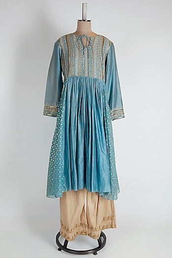 Powder Blue Kurta With Pants by NE'CHI