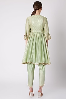 Mint Green Embroidered Tunic With Dhoti Pants by NE'CHI