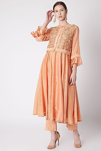Peach Embroidered Kurta With Attached Jacket & Pants by NE'CHI