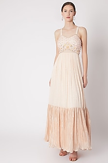 Peach Embroidered Georgette Gown by NE'CHI
