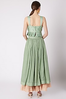 Mint Green Embroidered Skirt Set by NE'CHI