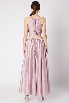 Mauve Embroidered Blouse With Pants & Sash by NE'CHI