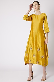 Mustard Embroidered Cowl Tunic by NE'CHI