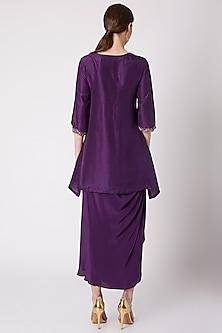 Purple Embroidered Draped Skirt Set by NE'CHI