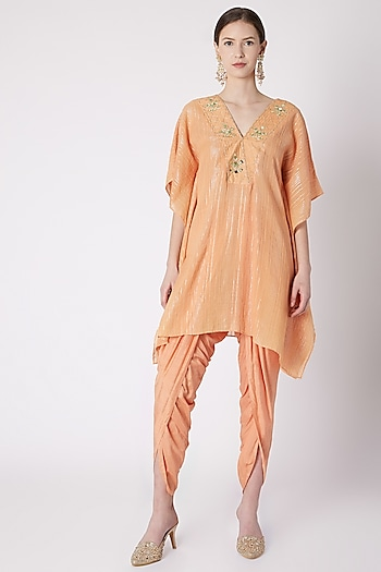 Peach Embroidered Kaftan With Dhoti by NE'CHI