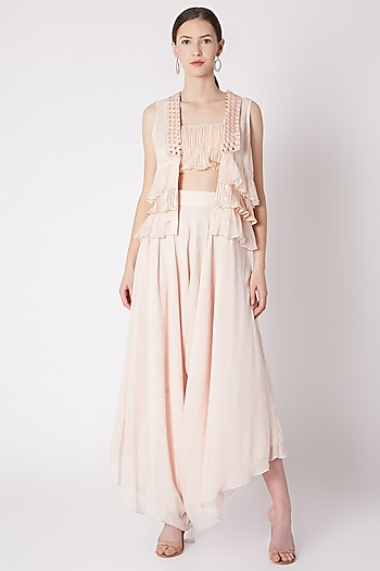 Peach Embroidered Layered Jacket With Crop Top & Pants by NE'CHI