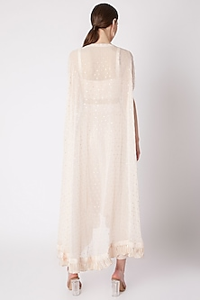 Peach Embroidered Long Cape With Bustier & Pants by NE'CHI