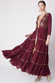 Maroon Embroidered Layered Cape With Kurta & Pants by NE'CHI