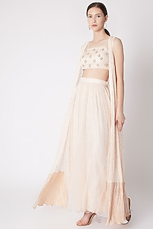 Peach Embroidered Cape Set by NE'CHI