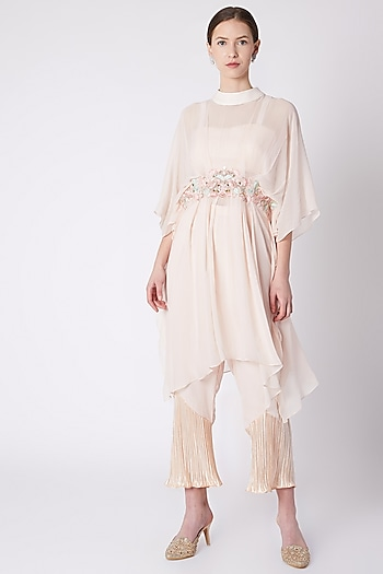Peach Embroidered Kaftan With Bustier & Pants by NE'CHI