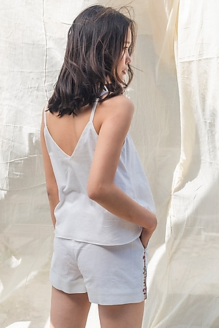 White Hand Embroidered Cami Top by Nika