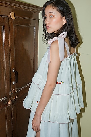 White Hand Embroidered Ruffled Cami Top by Nika