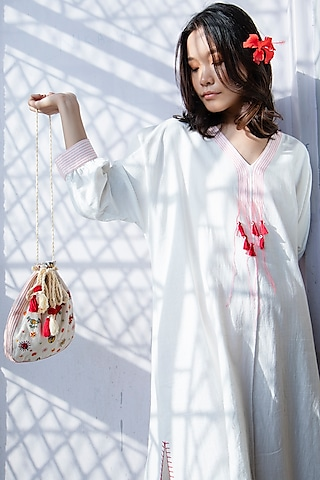 White Embroidered Tunic With Handmade Tassels by Nika