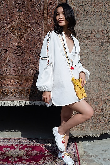 White Handwoven Cotton Tunic With Embroidery by Nika