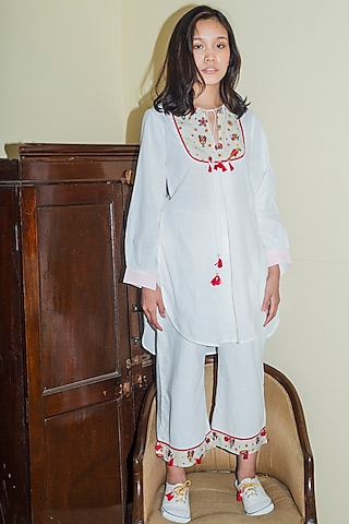 White Embroidered Tunic Set by Nika