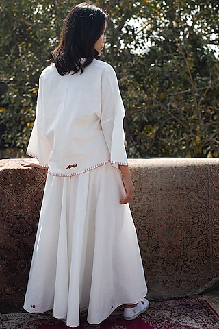 White Embroidered Wrap Skirt by Nika