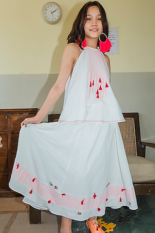 White Embroidered Paneled Skirt by Nika