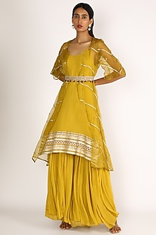 Yellow Embroidered Kurta Set With Jacket by Label Nimbus