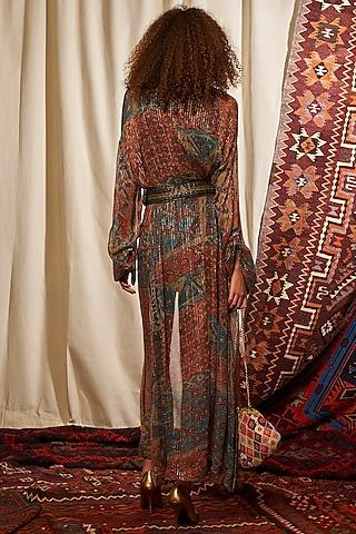Multi Colored Printed Jacket With Dress & Belt by Nikita Mhaisalkar