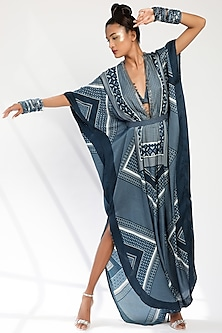 Indigo Blue Embroidered Kaftan Set by Nikita Mhaisalkar