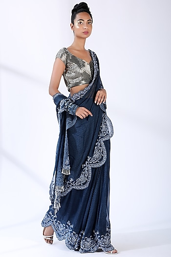 Indigo Blue Embroidered Saree Set by Nikita Mhaisalkar