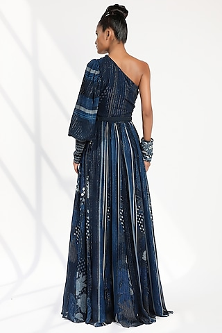 Indigo Blue Printed Dress With Belt by Nikita Mhaisalkar