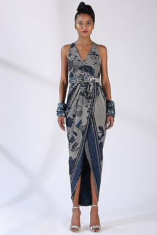 Indigo Blue printed Draped Dress by Nikita Mhaisalkar
