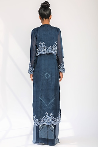 Indigo Blue Embroidered Pleated Pant Set by Nikita Mhaisalkar