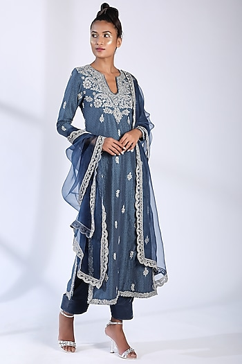 Indigo Blue Embroidered Kurta Set by Nikita Mhaisalkar