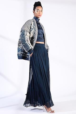 Indigo Blue Printed Puffer Jacket by Nikita Mhaisalkar