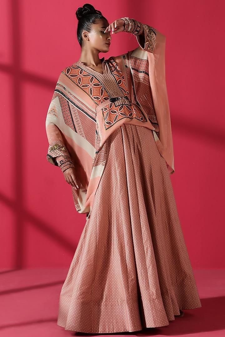 Terracotta Red Printed Lehenga Set by Nikita Mhaisalkar