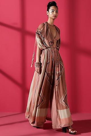 Terracotta Red Draped Jacket Set by Nikita Mhaisalkar