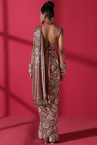 Terracotta Red Pre-Pleated Saree Set by Nikita Mhaisalkar