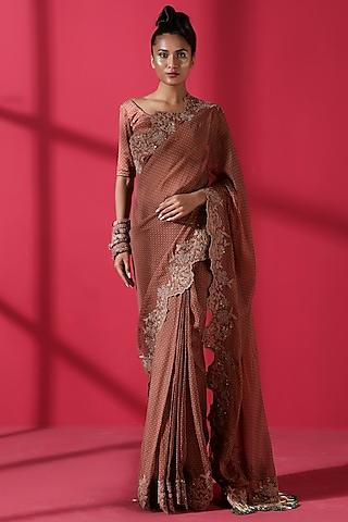 Terracotta Red Printed Saree Set by Nikita Mhaisalkar
