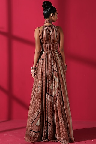 Terracotta Red Maxi Dress With Scarf by Nikita Mhaisalkar