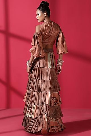 Terracotta Red Printed Skirt Set by Nikita Mhaisalkar