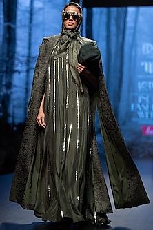 Dark Olive Embellished Gown by Nikita Mhaisalkar