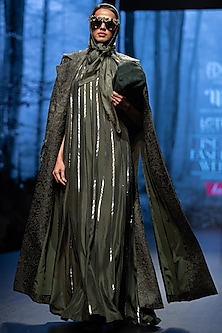 Dark Olive Embellished Gown by Nikita Mhaisalkar