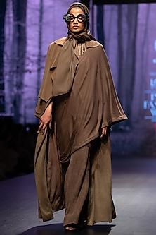 Dark Tan Embellished Saree Jumpsuit by Nikita Mhaisalkar