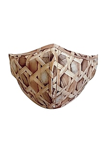Beige & Brown 3 Ply Bamboo Printed Mask With Pouch by Nikita Mhaisalkar