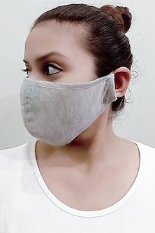 Light Grey 3 Ply Mask With Pouch by Nikita Mhaisalkar