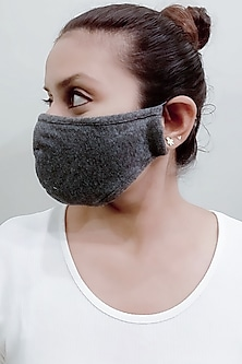 Grey 3 Ply Mask With Pouch by Nikita Mhaisalkar