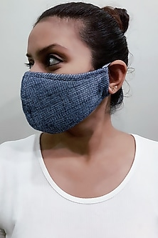 Blue 3 Ply Printed Mask With Pouch by Nikita Mhaisalkar