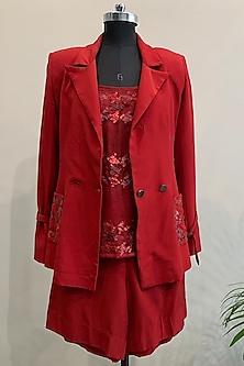Red Embroidered Jacket Set by Nikita Mhaisalkar