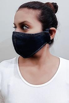 Blue 3 Ply Denim Mask With Pouch by Nikita Mhaisalkar