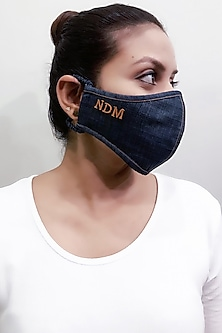 Blue 3 Ply Personalised Mask With Pouch by Nikita Mhaisalkar