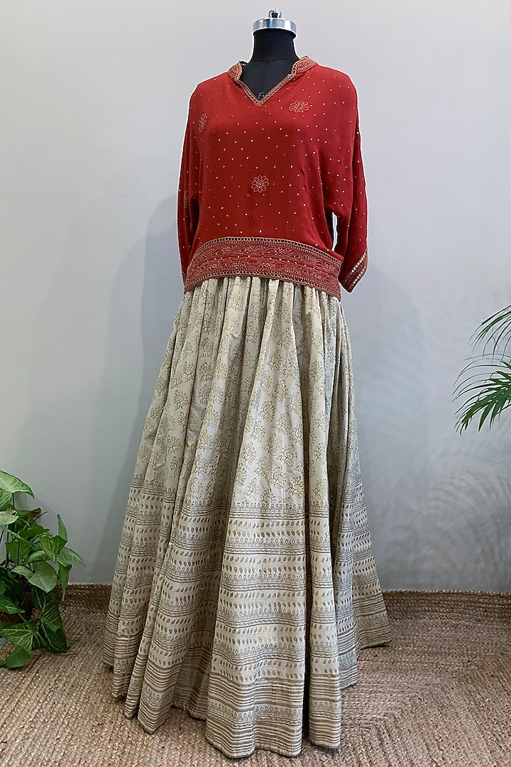 Red Embroidered Crop Top With Off White Skirt by Nikita Mhaisalkar