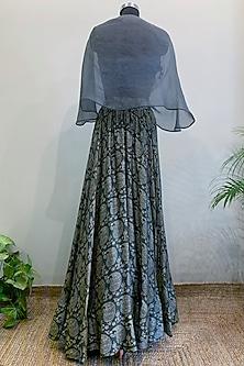 Bluish Grey Embroidered Cape Blouse With Printed Lehenga & Tube Inner by Nikita Mhaisalkar
