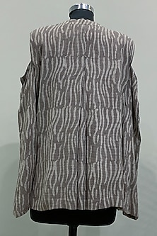 Beige Printed Cold Shoulder Top by Nikita Mhaisalkar