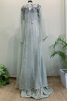 Ice Blue Thread Embroidered Gown With Jacket by Nikita Mhaisalkar